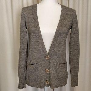 Calvin Klein Gray Cardigan Sweater Wool Blend